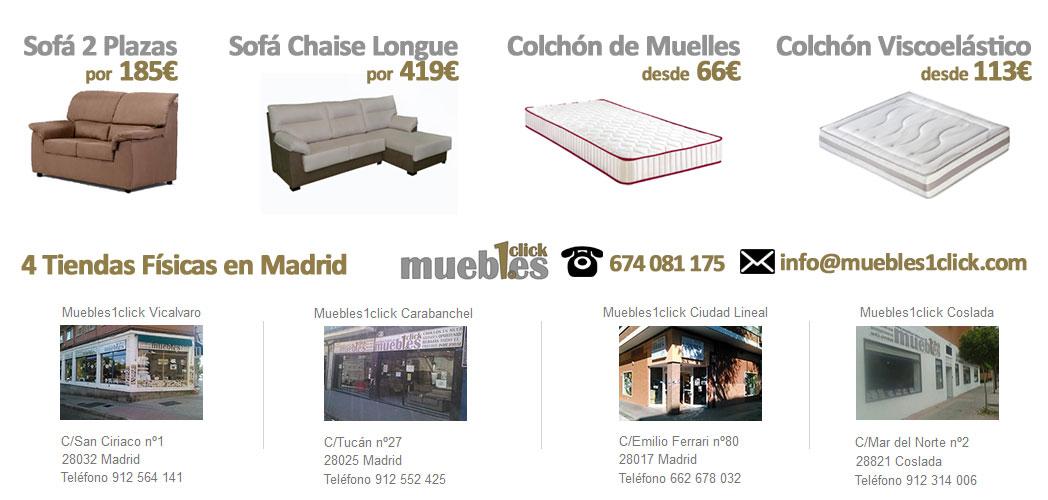 Colchones baratos en madrid latest conjunto canap y for Muebles baratos madrid